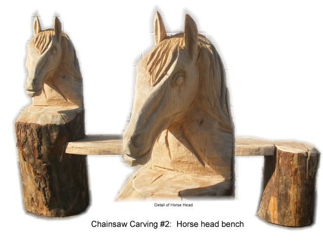 Jaycees radio auction chainsaw carving horse head bench on