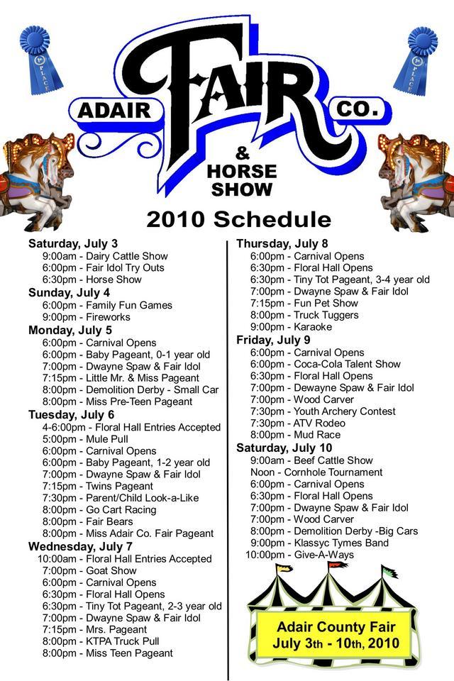 Adv 2010 Adair County Fair Schedule On Columbiamagazine Com