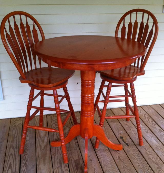 Ad Solid Oak Pub Chairs And Table For Sale On