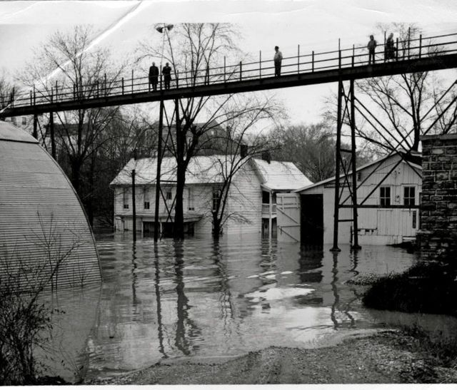 bridges of green co   ky  the footbridge in time of flood