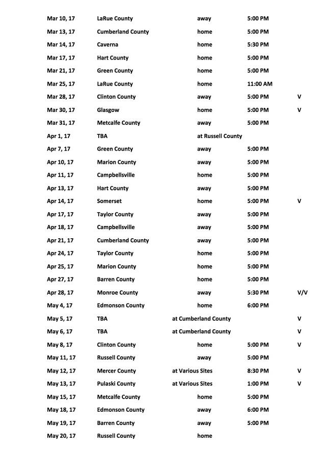 2017 Adair County High School Softball Schedule on